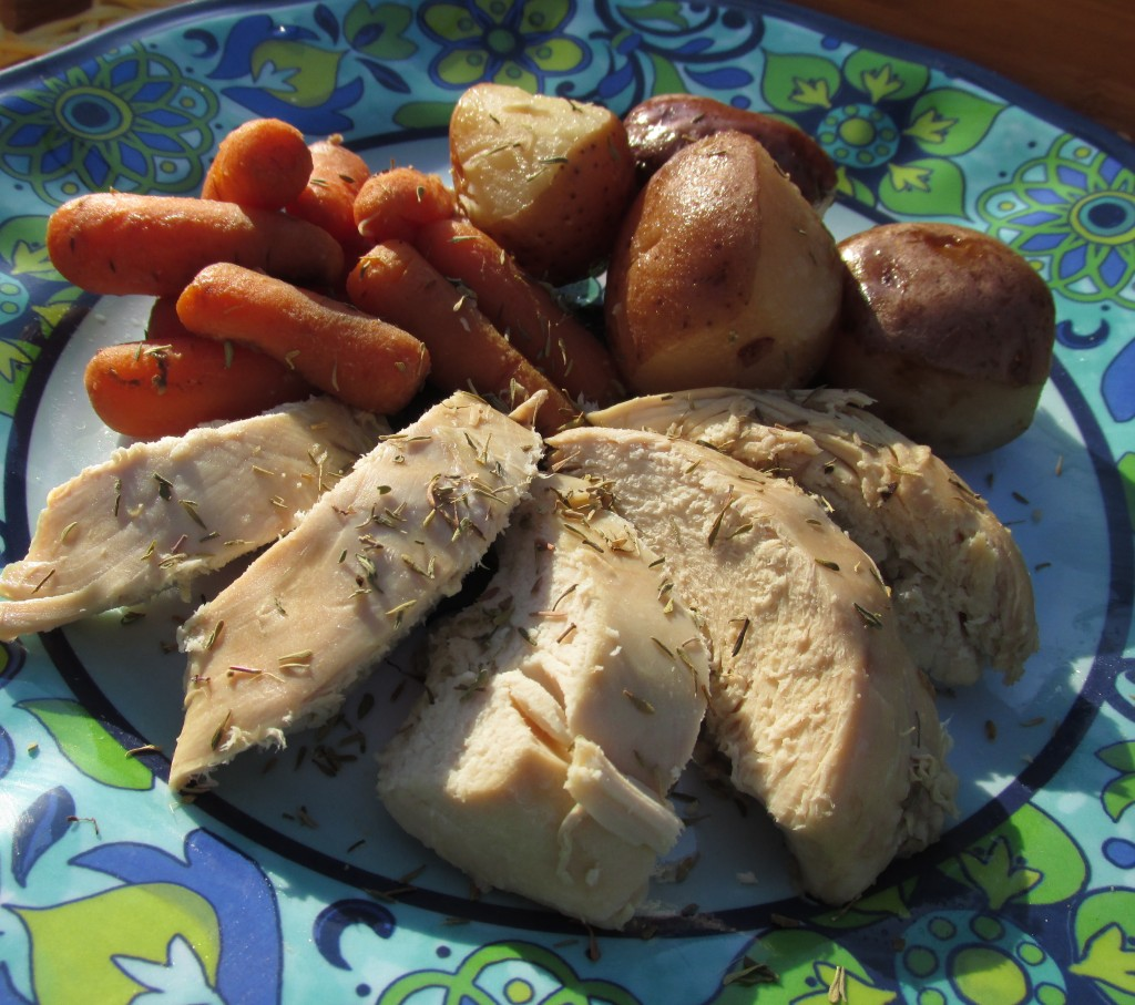 Chicken with roasted red potatoes and carrots
